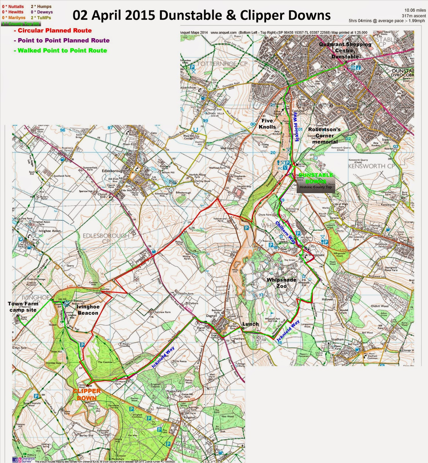 In Dunstable Bedfordshire: Peak Bagging And Long Distance Walking In The UK And Spain
