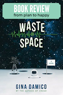 Waste of Space by Gina Damico has a hilarious premise - 10 teenagers are sent into space for a reality TV show. The novel is full of humor, satire, and situational comedy that made me laugh out loud. #books #scifi #realitytv