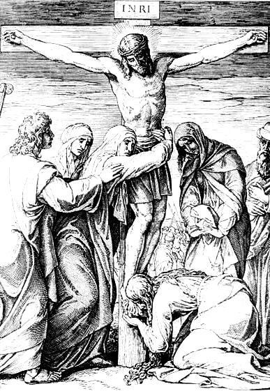 Imagen de Jesús crucificado y abrazado por María