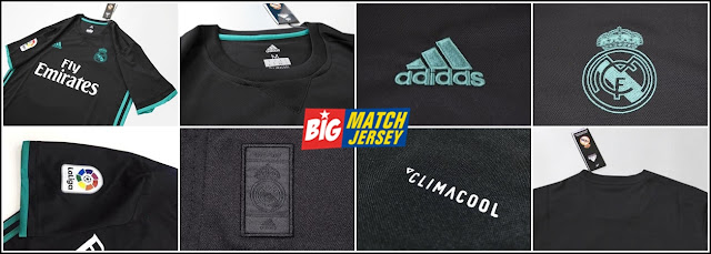 Detail Jersey Real Madrid Away Terbaru Musim 2017-2018 Warna Hitam