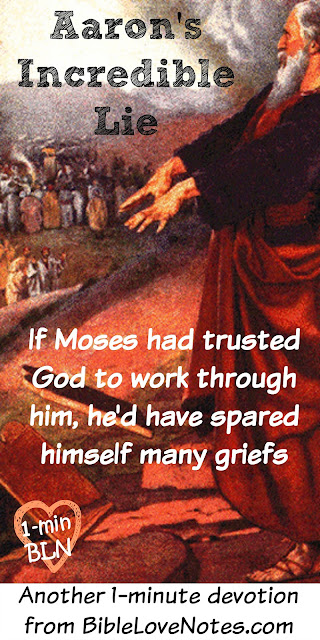 Golden Calf, Aaron's lies, Moses didn't trusst God, Moses' excuses, Aaron as Moses' spokesman