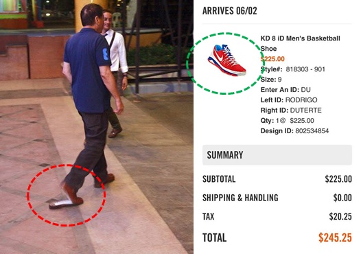 Supporter gives Duterte customized Nike shoes