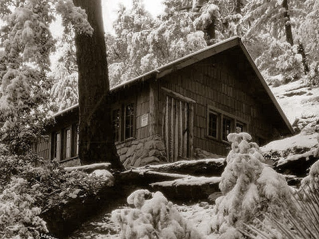 This was the Sigma Phi Alpha fraternity cabin in Icehouse Canyon, taken in 1926.