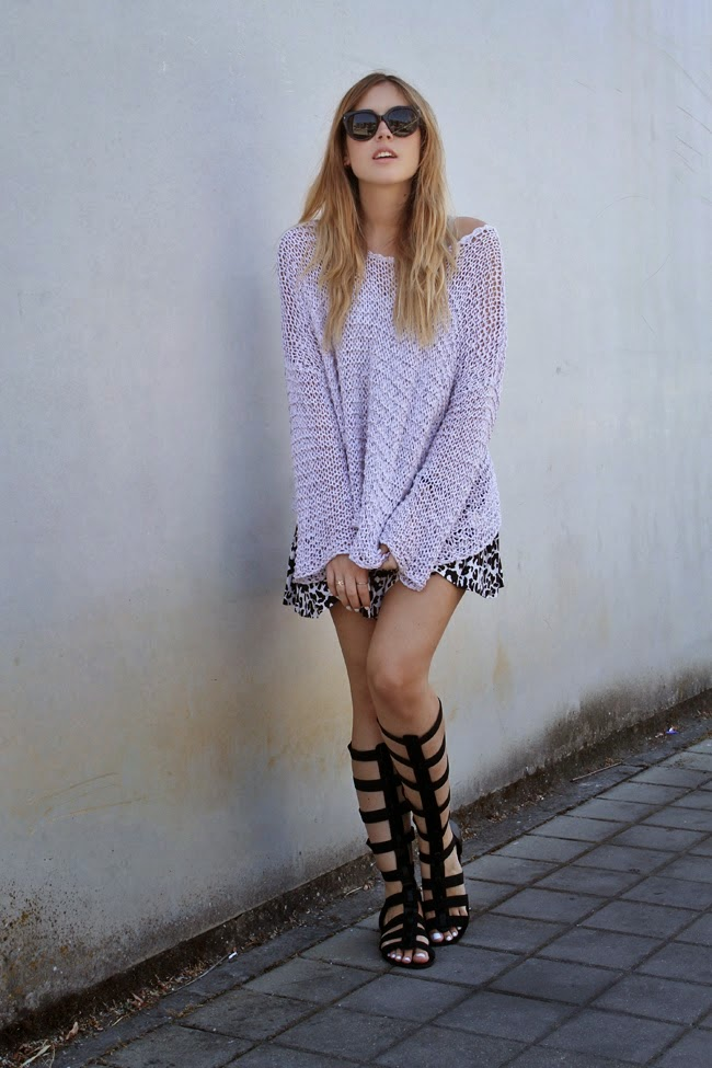 Pullover Sweater paired with skirt and gladiator sandals