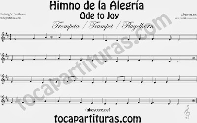 Partitura de para Trompeta y Fliscorno 9º Sinfonía by Beethoven Sheet Music for Trumpet and Flugelhorn Music Scores