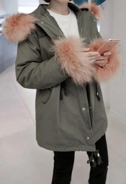 Fur Trimmed Quilt Lined Hooded Jacket
