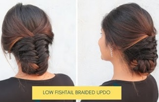 Low Fishtail Braided Bun Hairstyle / Easy Updo For Wedding