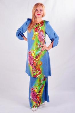 baju kurung motif batik kain sutera