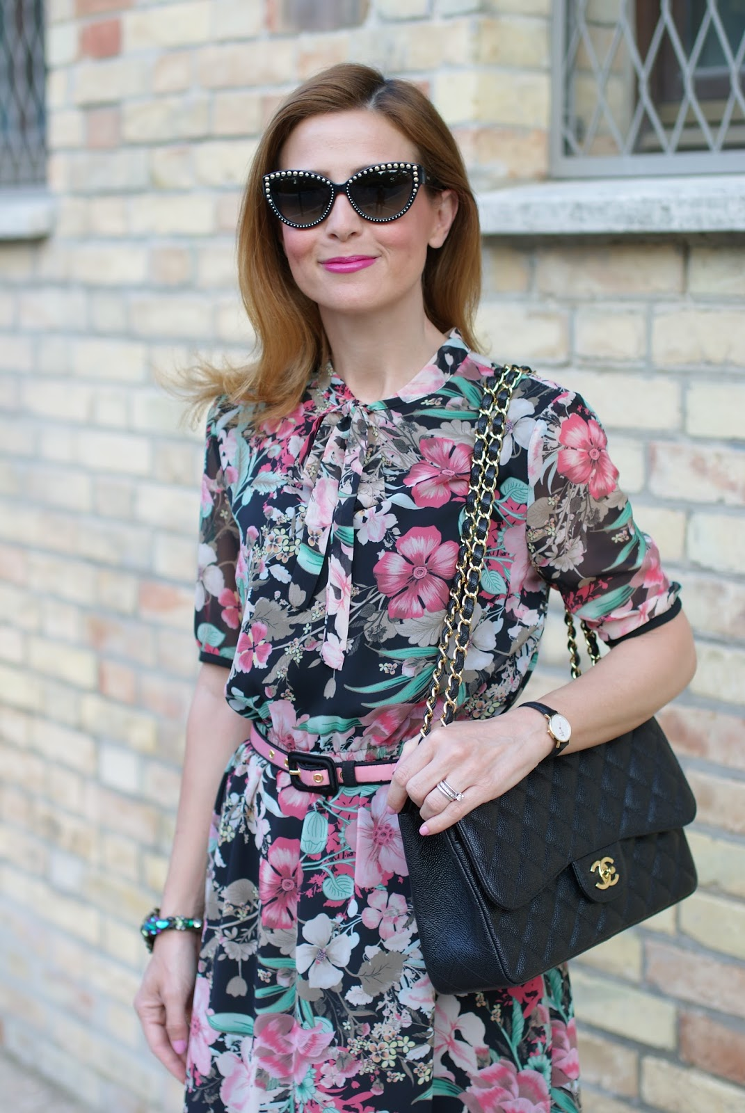 Floral chiffon dress with Valentino Rockstud heels and Chanel bag on Fashion and Cookies fashion blog, fashion blogger style