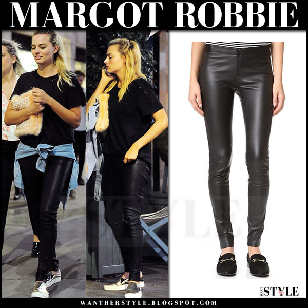 Margot Robbie in black leather alice olivia leggings and gold sneakers zcd montreal what she wore