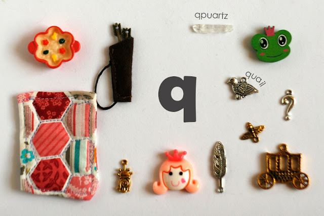 TomToy Individual letter Q I spy trinkets for alphabet, Miniature abc objects, Montessori alphabet. Sorting toddler activities