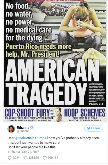 """IMG 20170929 105125 - GLOBAL: Rihanna To Donald Trump: """"Don't Let Your People Die Like This"""""""