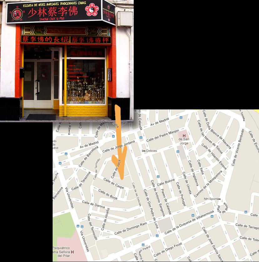 Mapa de localización y fachada Shaolin Choy Li Fut
