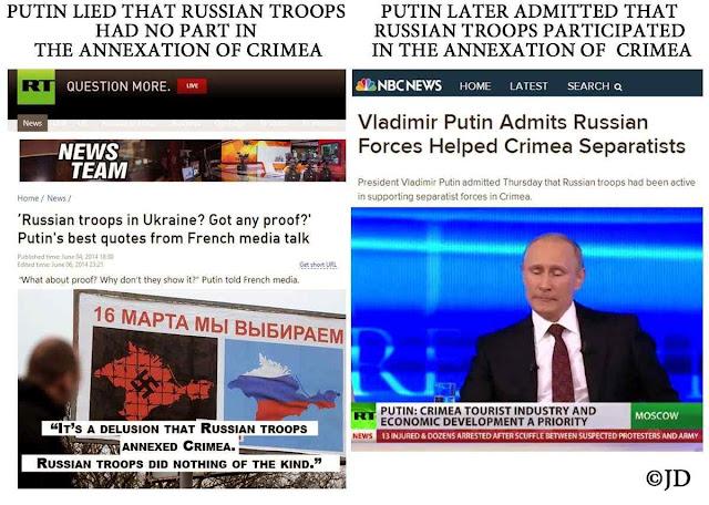 Putin nega e afirma o contrário do que negou e sua mídia ecoa. 'Na guerra mentira é como terra' diz provérbio. A Rússia vive em guerra da informação permanente