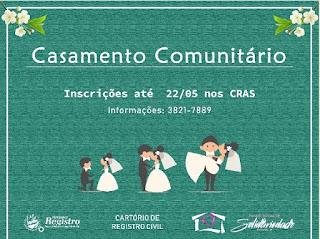 Fundo Social de Registro-SP recebe inscrições para Casamento Comunitário