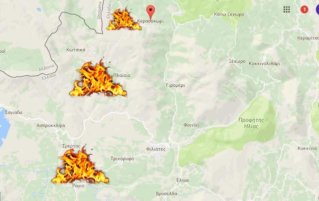 Τρία μέτωπα φωτιάς αυτή την ώρα στην Θεσπρωτία (+ΦΩΤΟΡΕΠΟΡΤΑΖ)