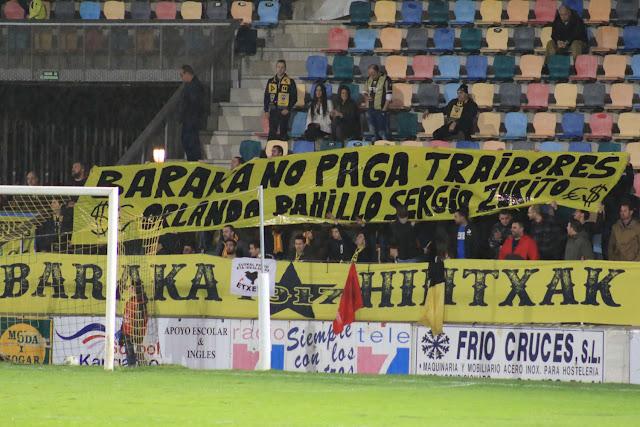 Pancarta mostrada en el partido en Lasesarre entre el Barakaldo y el Sanse