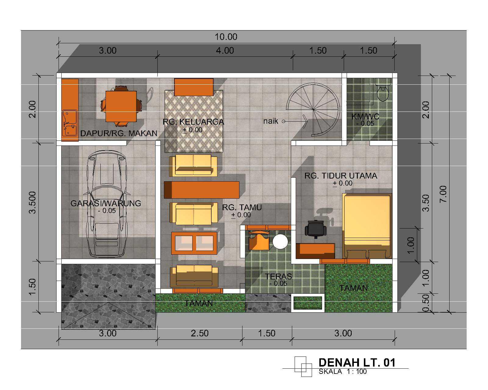 Denah Rumah Minimalis 1 Lantai Ukuran 6x8
