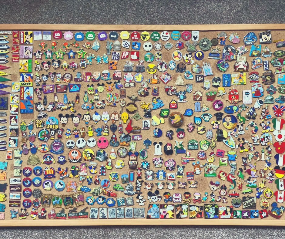 7 Ways To Save Money When In Walt Disney World | Our pin board featuring all the pins we've traded in Walt Disney World.