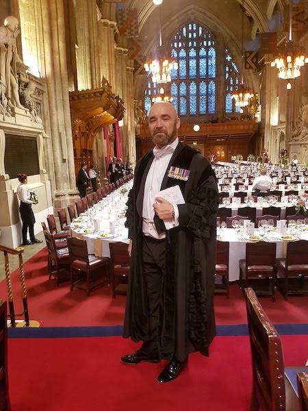 The Beadle of The Worshipful Company of Information Technologists in his robe of office seen here in Guildhall