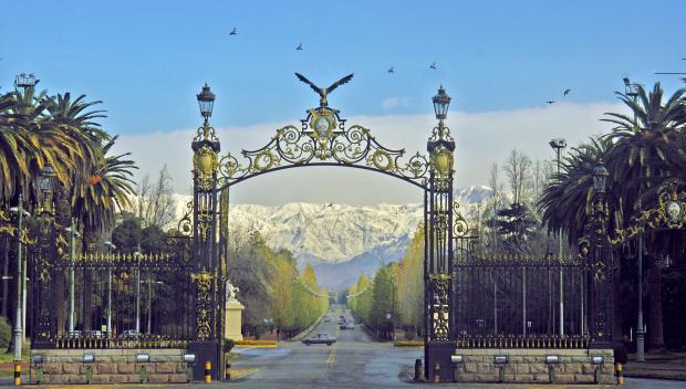 Parque San Martín em Mendoza durante o inverno