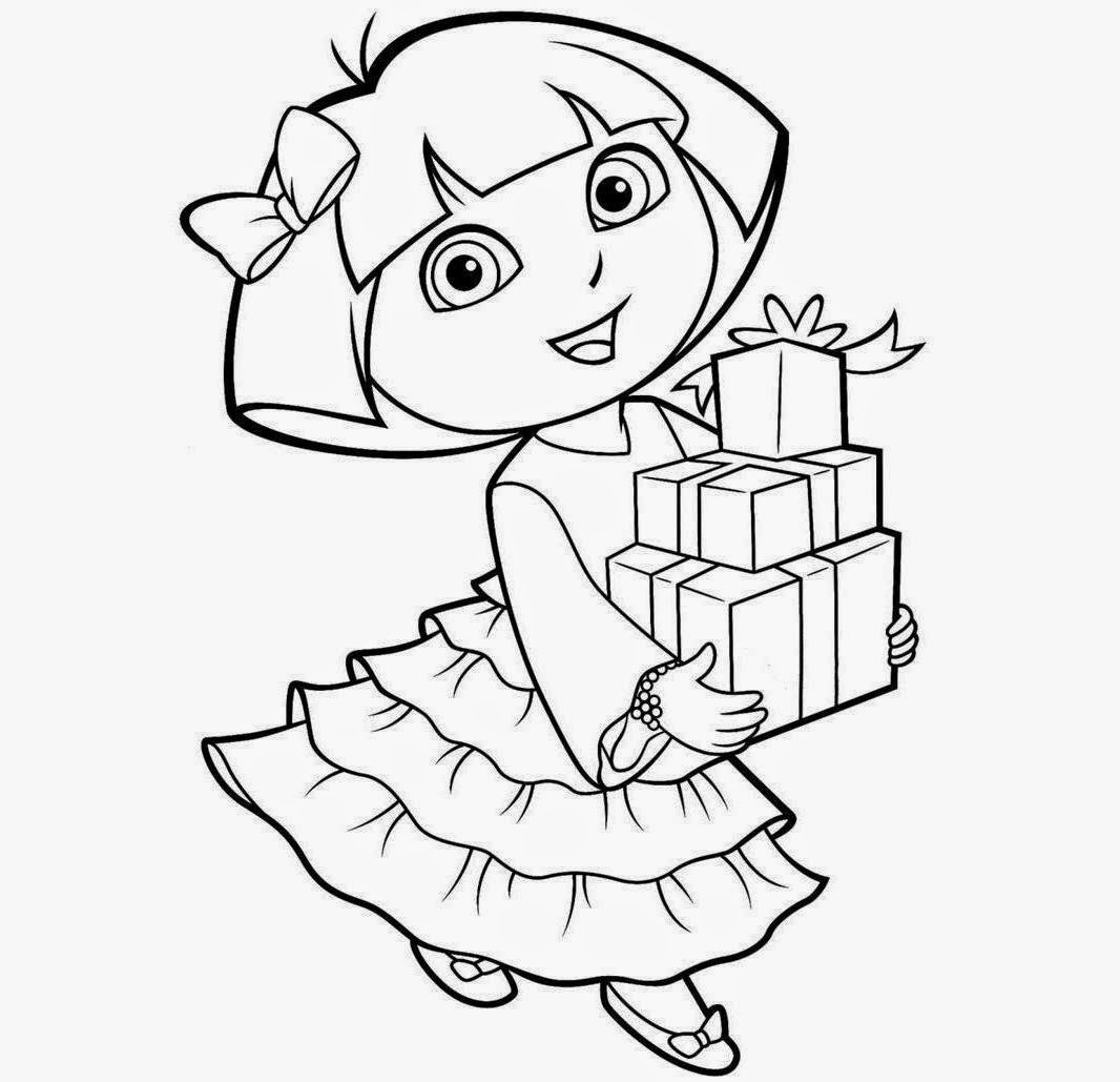 Princess dora coloring drawing free wallpaper anggela for Dora black and white coloring pages