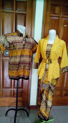 Model Baju Batik Sarimbit Lebaran Terbaru Kuning