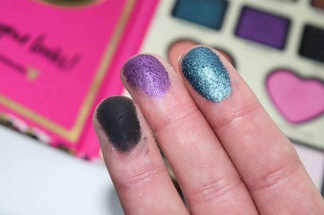 a picture of Too Faced x NikkieTutorials The Power of Makeup Collection ;Wanted, Wham Bam, Mystic Hour (swatch)