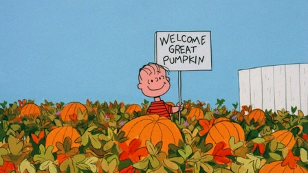 Linus Welcome Great Pumpking gif its the great pumpkin charlie brown