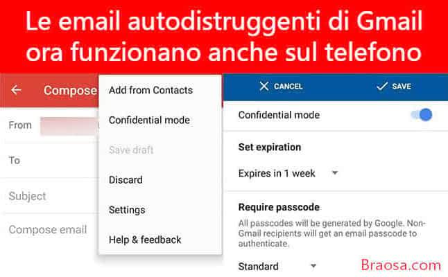 Le email autodistruggenti di Gmail ora funzionano sul tuo telefono