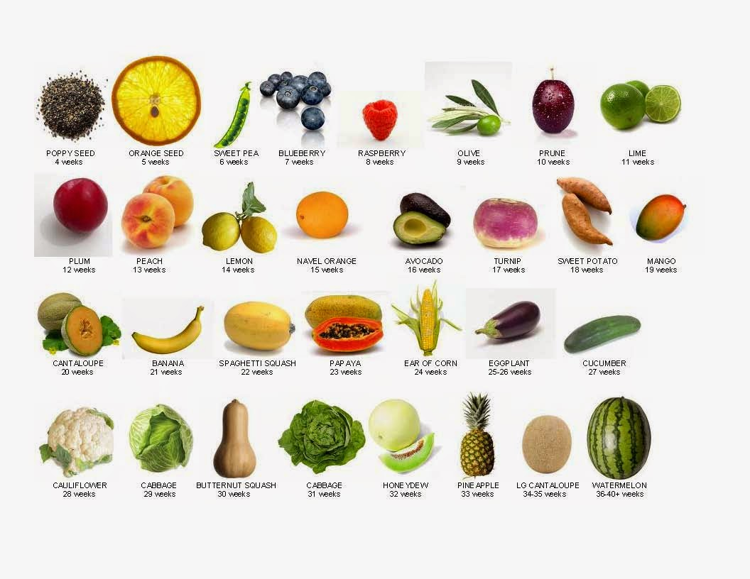 Fetus Fruit Veggie Growth Chart