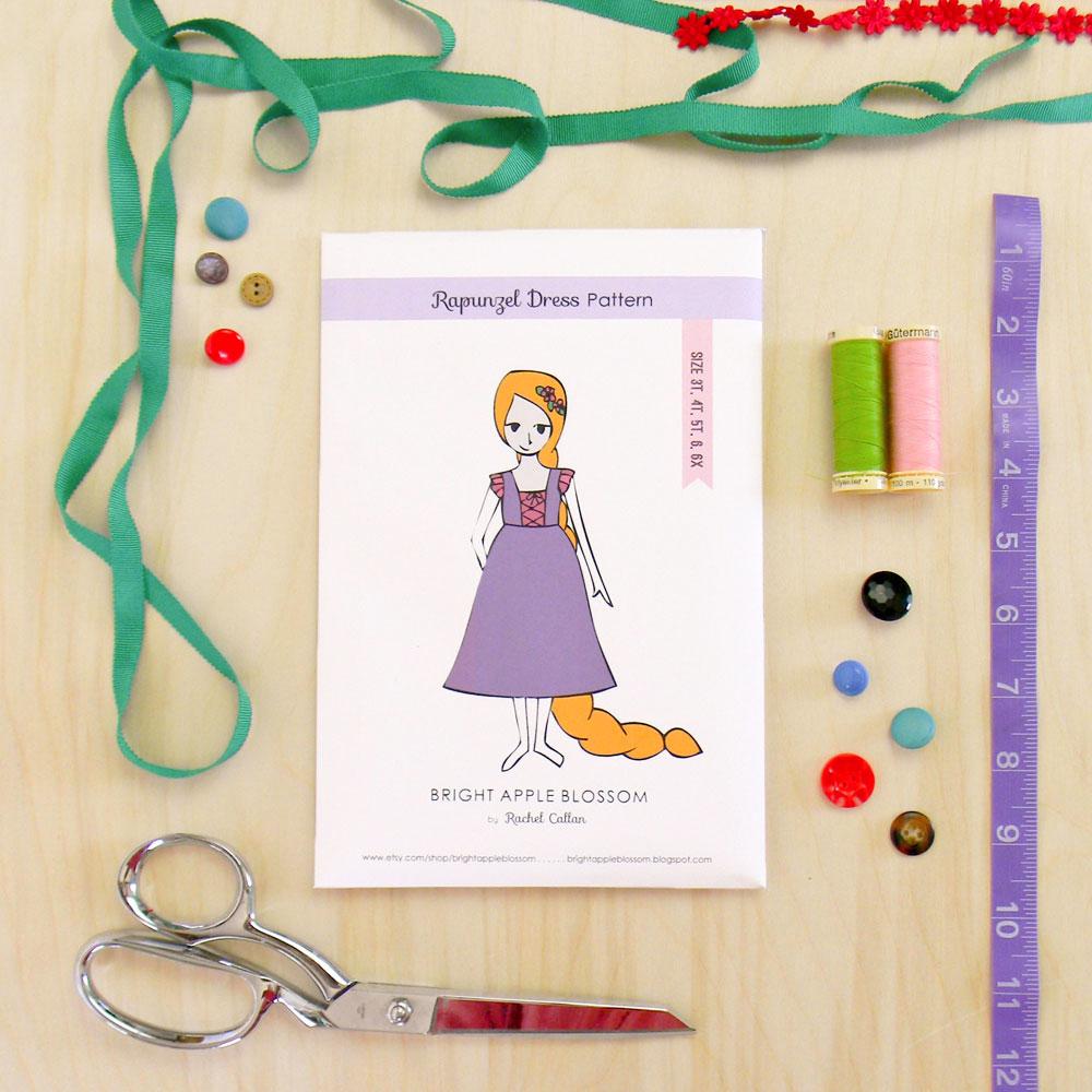 Rapunzel Dress Pattern Launch - bright apple blossom