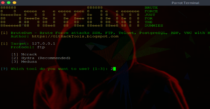 BruteDum : Brute Force Attacks SSH, FTP, Telnet, PostgreSQL, RDP, VNC with Hydra, Medusa and Ncrack