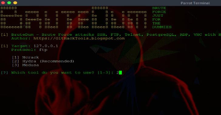 BruteDum : Brute Force Attacks SSH, FTP, Telnet, PostgreSQL, RDP, VNC with Hydra, Medusa and Ncrack