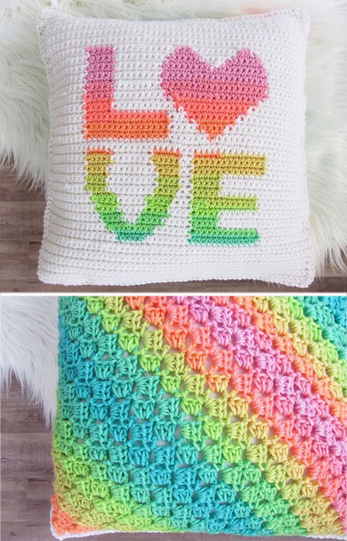 Crochet LOVE Pillow Cover - Free Pattern