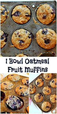 """One Bowl Oatmeal Muffins..""""These no fat blueberry oatmeal muffins are bursting with fruit, fiber and protein. Feel good about sending your kid out the door with one of these!"""" www.thisishowicook.com #muffins"""