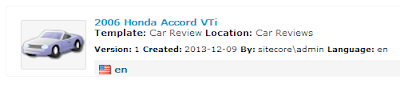 Car Review item in Sitecore 7 item bucket search
