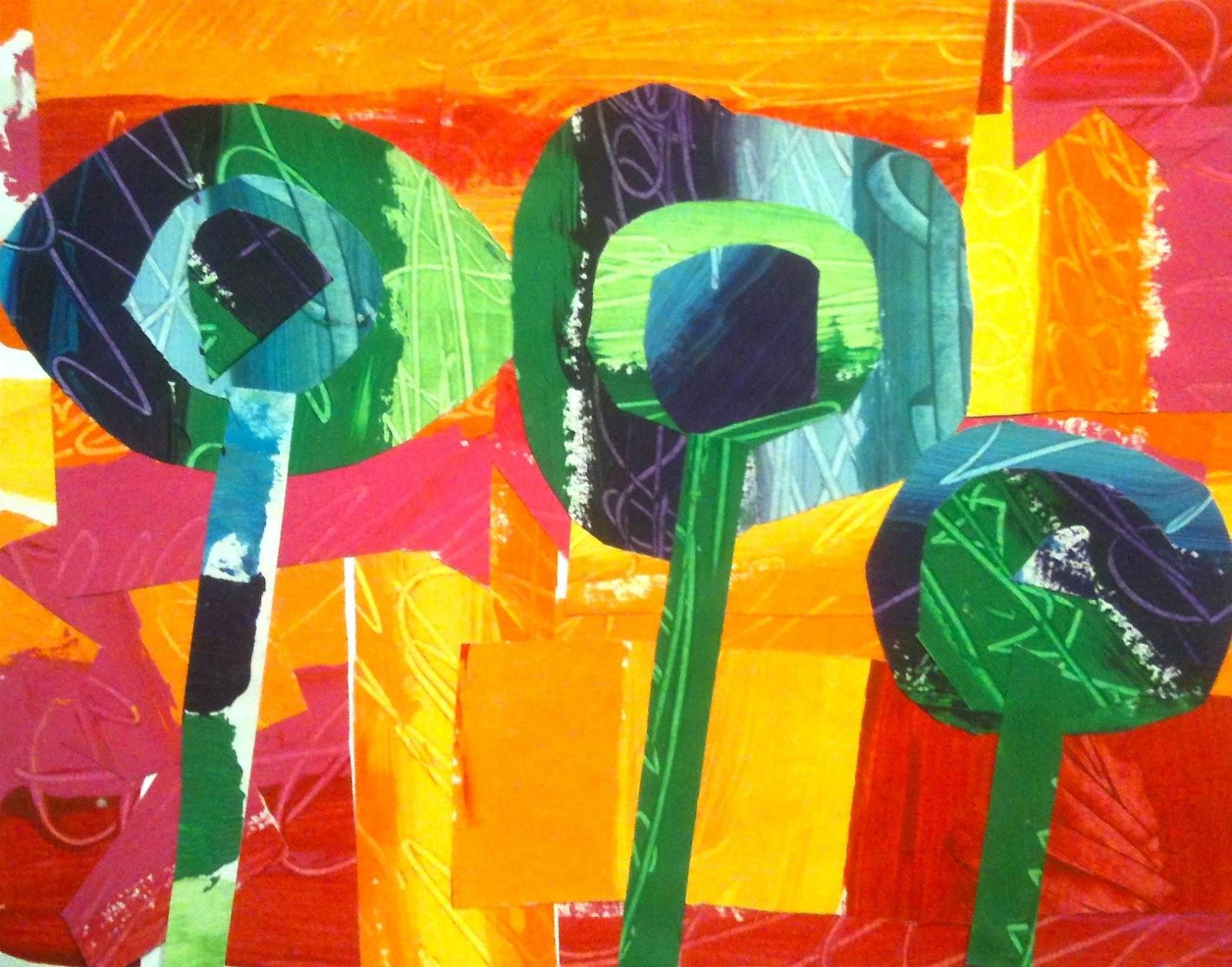 kids art market warm and cool color collages with hundertwasser. Black Bedroom Furniture Sets. Home Design Ideas