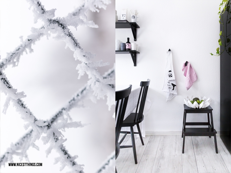 Frost Makro und skandinavische Küche in Schwarz Weiss