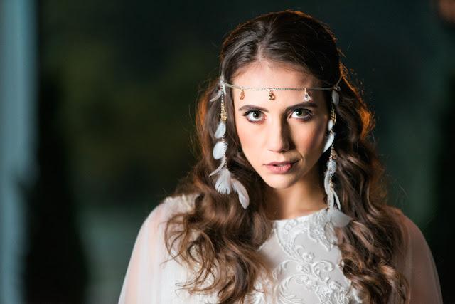 Opaska ślubna boho z piórkami