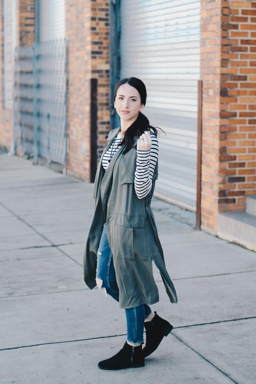 Long Olive Vest Street Style