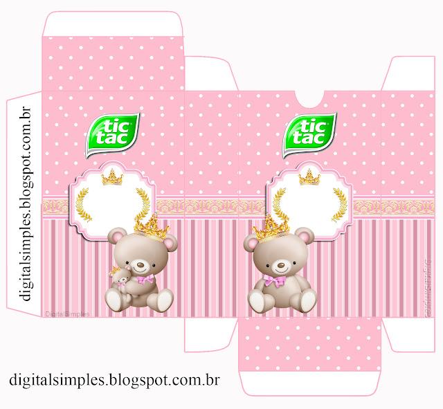 Caja de Tic Tac para Imprimir Gratis de Princesa Osita de Peluche.