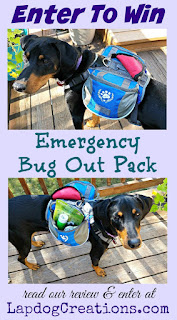 giveaway for Emergency Bug Out Pack for dogs