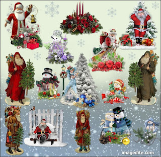 Santa Claus & others Christmas decor element cliparts png