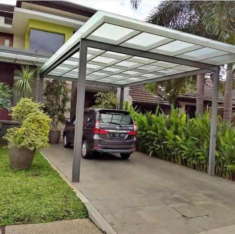 Model Kanopi rumah desain minimalis rangka besi dan atap kaca