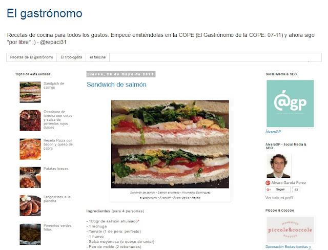 Recetas TOP10 de El Gastrónomo en mayo 2016 - Ahumados Domínguez - Salmón ahumado - Sandwich de salmón