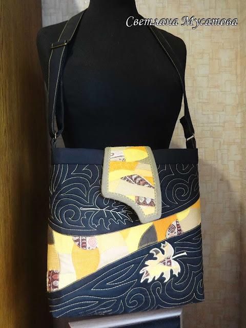 женская лоскутная сумка с вышивкой