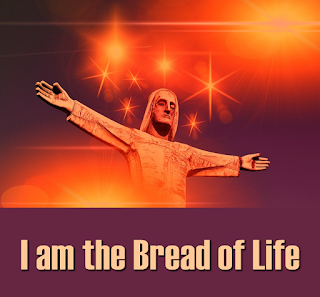 Jesus, the Bread of Life, with hands outstretched over the world