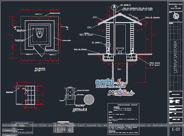 Pool latrine project in AutoCAD