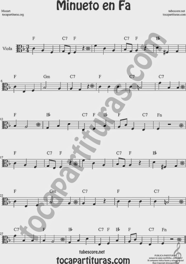 Minueto en Fa Partitura de Viola Sheet Music for Viola Music Score